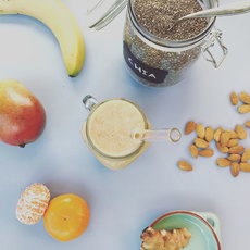 Mango chia seed almon breakfast smoothie craft smoothie