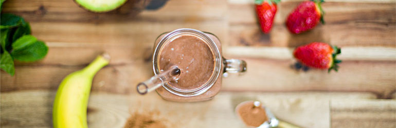 Healthy chocolate smoothie and ingredients